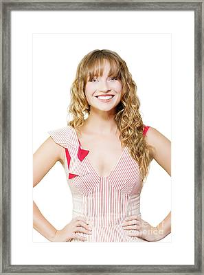 Happy Female Business Worker On White Background Framed Print
