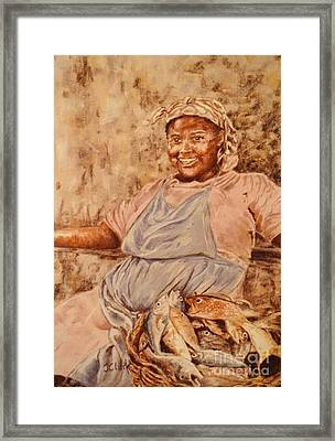 Happy Fish Seller Framed Print