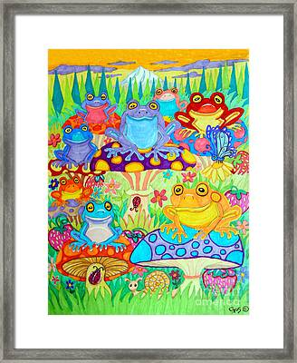 Happy Frogs In Mushroom Valley Framed Print by Nick Gustafson