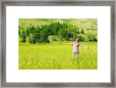 Happy Girl Enjoying Nature Framed Print by Anna Om