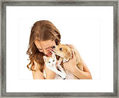Happy Girl With Kitten And Affectionate Puppy Framed Print by Susan Schmitz