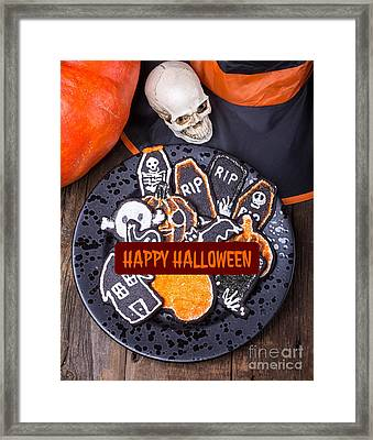 Happy Halloween Card Framed Print by Edward Fielding