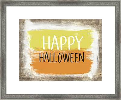 Happy Halloween Sign- Art By Linda Woods Framed Print by Linda Woods