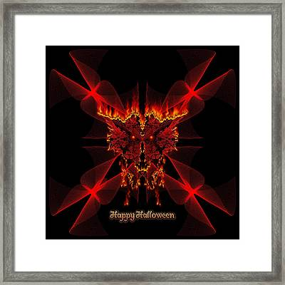 Happy Halloween Sinedot Fractal Fire Demon Framed Print