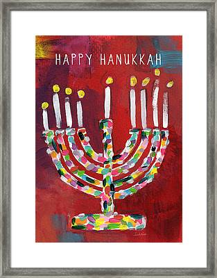Happy Hanukkah Colorful Menorah Card- Art By Linda Woods Framed Print by Linda Woods