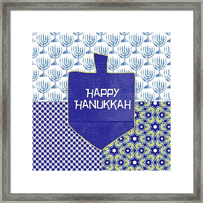 Happy Hanukkah Dreidel 1- Art By Linda Woods Framed Print by Linda Woods