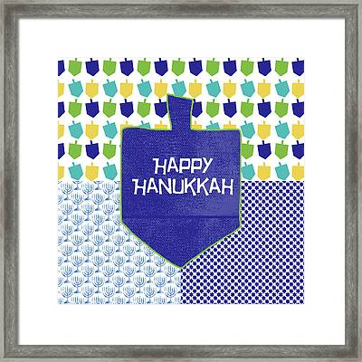 Happy Hanukkah Dreidel 2- Art By Linda Woods Framed Print