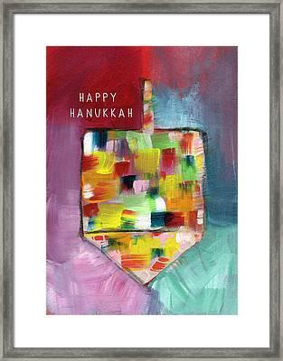 Happy Hanukkah Dreidel Of Many Colors- Art By Linda Woods Framed Print by Linda Woods