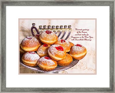 Happy Hanukkah Greeting Card Framed Print by Irena Kazatsker