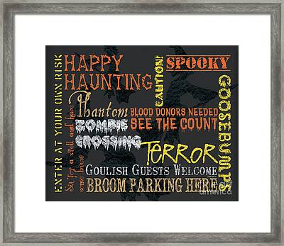 Happy Haunting Typography Framed Print by Debbie DeWitt