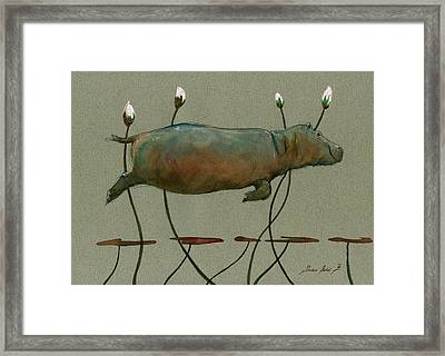 Happy Hippo Swimming Framed Print by Juan  Bosco
