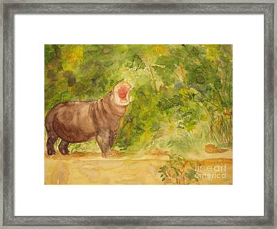 Framed Print featuring the painting Happy Hippo by Vicki  Housel
