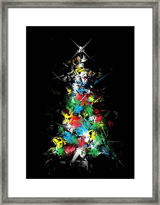 Happy Holidays - Abstract Tree - Vertical Framed Print