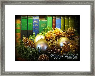 Happy Holidays Books Framed Print