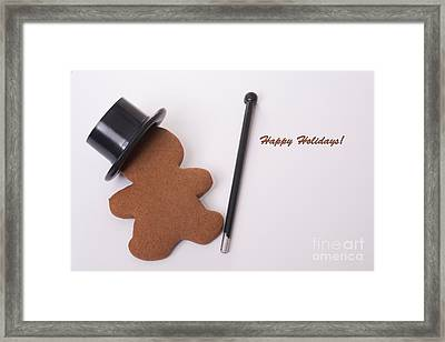 Happy Holidays Dancing Gingerbread Man Framed Print by Linda Matlow