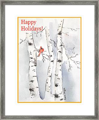 Framed Print featuring the painting Happy Holidays by Maria Langgle