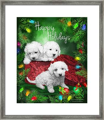 Happy Holidays Puppies Framed Print