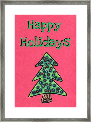 Happy Holidays Red Framed Print