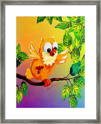 Happy Hoot Framed Print by Hanne Lore Koehler