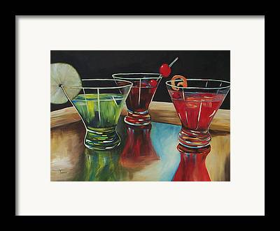 And Apple Martini On A Brass Beer Tray Framed Prints
