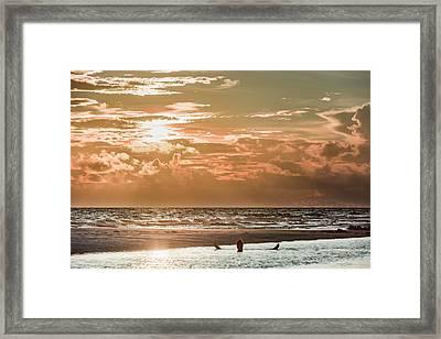 Happy Hour Sunset On The Beach Framed Print