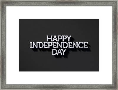 Happy Independence Day Text On Black Framed Print by Allan Swart
