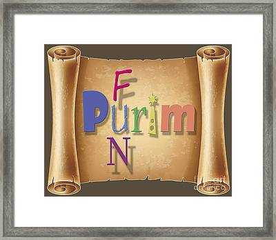 Happy Joyous Fun Purim  Framed Print by Humorous Quotes