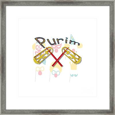 Happy Joyous Purim  Framed Print by Humorous Quotes