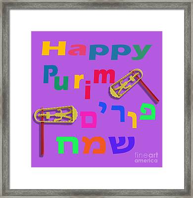 Happy Joyous Purim In Hebrew And English Framed Print by Humorous Quotes