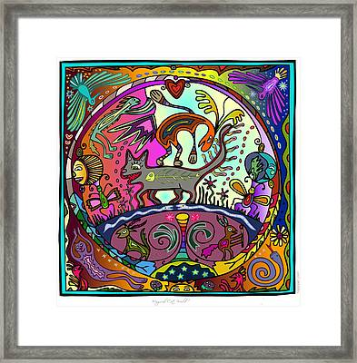 Framed Print featuring the digital art Happy Kitties by Marti McGinnis