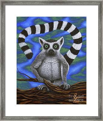 Happy Lemur Framed Print