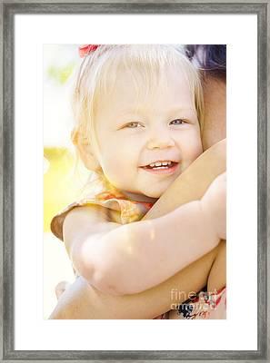 Happy Little Girl Smiling In Summer Sun Light Framed Print by Jorgo Photography - Wall Art Gallery