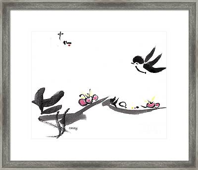 Happy Little Swallow Framed Print by Casey Shannon