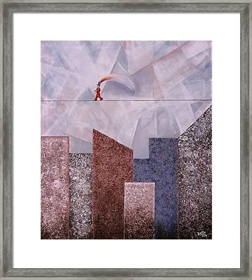 Happy Man In Gray City Framed Print by Graciela Bello