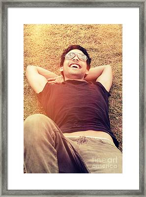 Happy Man Laughing While Enjoying Summer Holidays Framed Print by Jorgo Photography - Wall Art Gallery