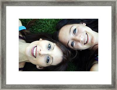 Happy Mom And Daughter Framed Print by Linda Woods