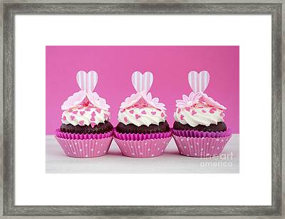 Pink And White Cupcakes. Framed Print by Milleflore Images