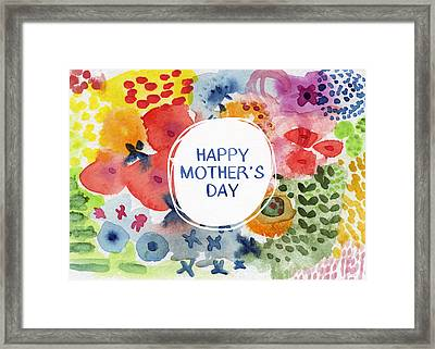 Happy Mothers Day Watercolor Garden- Art By Linda Woods Framed Print by Linda Woods