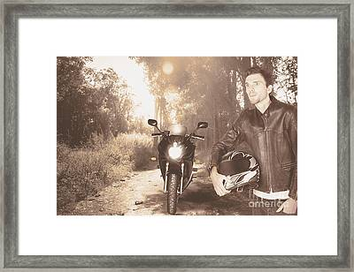 Happy Motorbike Man On Outback Australia Adventure Framed Print by Jorgo Photography - Wall Art Gallery