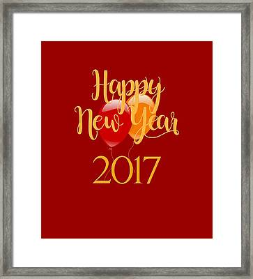 Happy New Year 2017 With Balloons Framed Print by Heidi Hermes