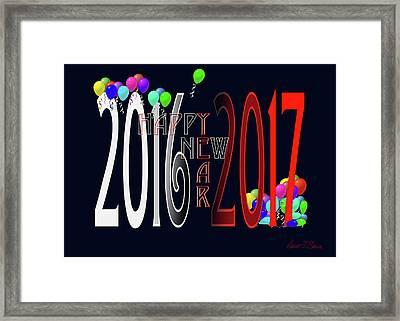 Happy New Year Card With Ballons Framed Print