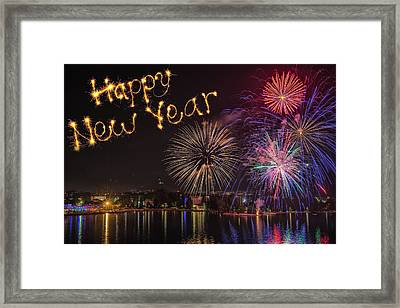 Happy New Year  Written With  Firework On Firework Background Framed Print by Iacob Danny