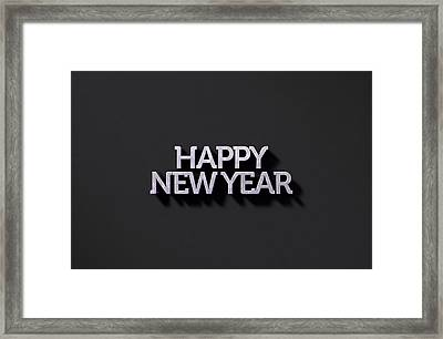 Happy New Years Text On Black Framed Print