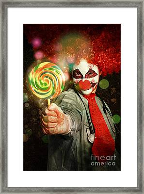 Happy Party Clown With Lollies At Circus Carnival Framed Print