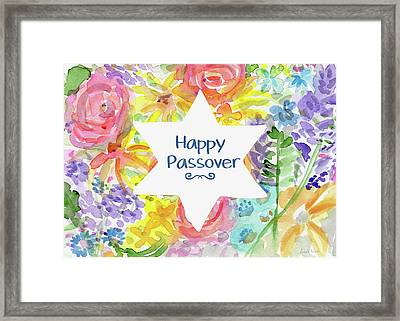 Happy Passover Floral- Art By Linda Woods Framed Print