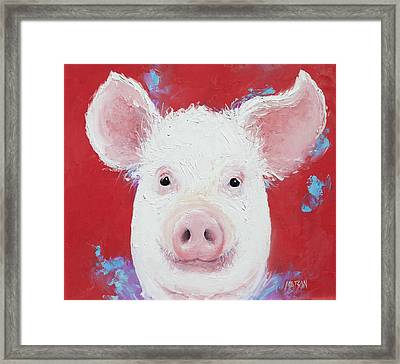 Happy Pig Painting  Framed Print by Jan Matson