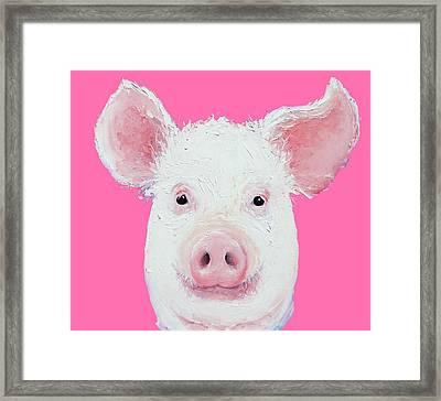 Happy Pig Portrait Framed Print by Jan Matson