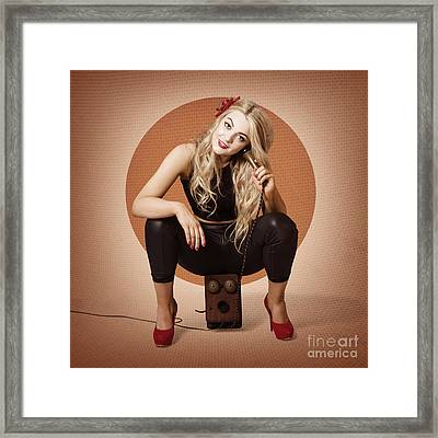 Happy Pin Up Girl Talking On Retro Box Telephone Framed Print by Jorgo Photography - Wall Art Gallery