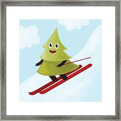 Happy Pine Tree On Ski Framed Print