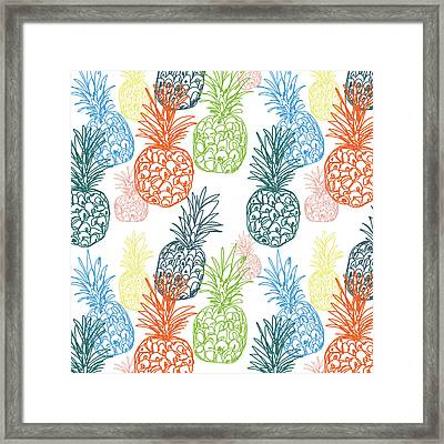 Happy Pineapple- Art By Linda Woods Framed Print by Linda Woods